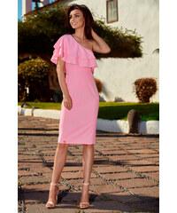 cc071024182c Perfect Letní společenské šaty na jedno rameno zdobený volány