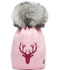 Růžová čepice Woolk s růžovým jelenem a šedou bambulí 1978e0a07e
