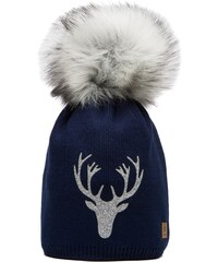Námořnicky modrá čepice Woolk se stříbrným jelenem a šedou bambulí e2e8fc7ea9