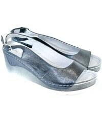 d6cc8cc343a3 KARINO Dámske kožené strieborné sandále EVINE 36