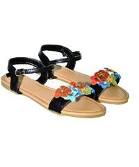 33f7ff699cc1 COMER Čierne kvietkované nízke sandále LILY 36