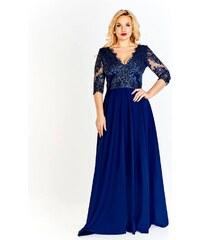cad3d829a48 Getthelook Dlouhé šaty s rozparkem Claudia 38-50 Tmavě modré
