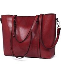 Miss Lulu luxusní vínově červená kabelka z imitace voskované kůže 6709 42cca477ff