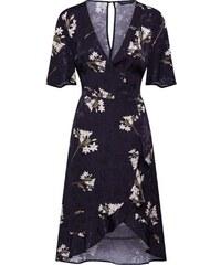Dorothy Perkins Košilové šaty  SATIN WRAP JACQUARD MIDI  černá c021fc3c59