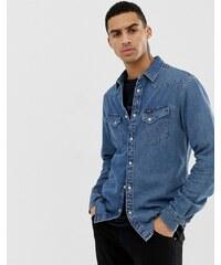 6de470b8d6de Wrangler western denim shirt slim fit in blue indigo mid wash - Green tint  indigo