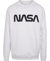 TEE Pánska biela mikina Mister Tee NASA EMB Crewneck a5bec77f4fe
