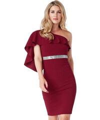 Dámské šaty s odhaleným ramenem vínové d4d8b606be