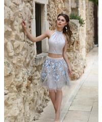 Ever-Pretty Šedé dvoudílné šaty s krajkovou tutu sukní a saténovým topem 77a2378852d