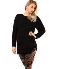558f37400f1 YooY Dlouhý dámský pletený svetr (černá