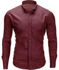 824a4379f1df Ombre Clothing Pánska jednofarebná košeľa Drake tmavočervená