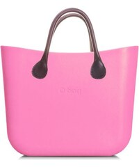 O bag kabelka MINI Pink s hnědými krátkými koženkovými držadly cf9d92f81f3
