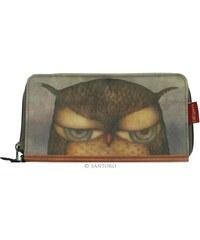 Santoro London - Peněženka s řemínkem (velká) - Grumpy Owl