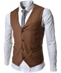 Pánská společenská vesta Elegance hnědá - hnědá