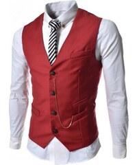 Pánská společenská vesta Elegance červená - červená