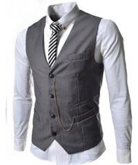 Pánská společenská vesta Elegance šedá - šedá