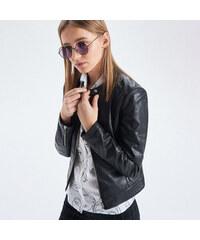 Cropp - Koženková bunda křivák - Černý 9ee075f4ddf