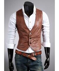 Pánská kožená vesta Brawa světle hnědá - hnědá