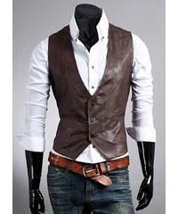 Pánská kožená vesta Brawa tmavě hnědá - hnědá