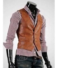 Pánská kožená vesta Ruwo hnědá - hnědá