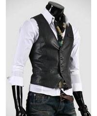 Pánská kožená vesta Ruwo černá - černá