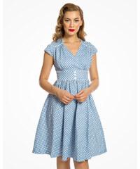 Světle modré šaty s bílými puntíky Lindy Bop Polly 07946f0f21