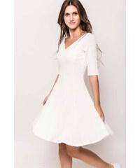 c2ac9ea56e8 Rouzit Krátke biele áčkové šaty s výstrihom do V