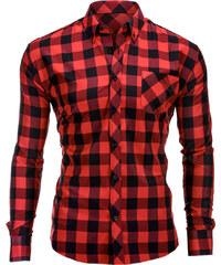 28b4fd2437c5 Ombre Clothing pánska košeľa Lamar červeno-čierna