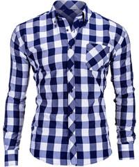 Ombre Clothing Tmavě modrá pánská károvaná košile Lamar d35236f65f