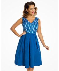 Modré šaty s puntíky na živůtku Lindy Bop Valerie 96f67cfeba