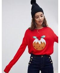 Brave Soul pud christmas jumper with pom poms - Red d584882e24