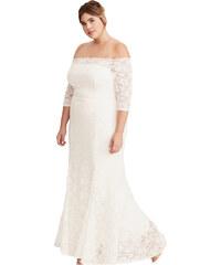 NoName Společenské šaty pro plnoštíhlé krajkové dlouhé bílé XL 087a1409db