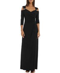 95068aee829 NoName Společenské šaty dlouhé černé s ozdobnými sponami L
