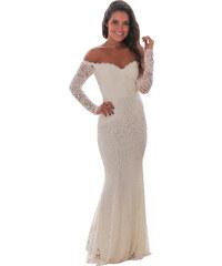be4a55bececd NoName Společenské večerní šaty krajkové bílé S