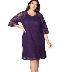 8a1f173beec7 NoName Dámské společenské šaty krajkové fialové XL