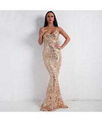 Perfect Zlaté a Bílé diamantové maxi jiskřivé originální šaty bez rukávů 3cb4a7c087a