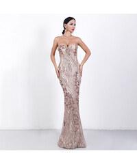 d0af0b309b77 Perfect Dlouhé flitrové společenské večerní lesklé šaty se vzorem bez rukávů