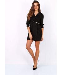 Rouzit Zavinovacie čierne mini šaty s opaskom e1c598c66b6