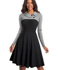 NoName - Dámské společenské vintage šaty s dlouhým rukávem 01c227dbdc