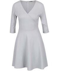 ZOOT světle šedé šaty s překládaným výstřihem L 9cbeb0951f