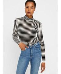 Vero Moda bílo-černé pruhované basic tričko se stojáčkem Vita L 1f06377850