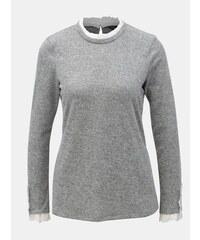 681a47ec6fe Dorothy Perkins šedý žíhaný lehký svetr s volánky XL