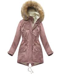 Jejmoda Dámska bavlnená zimná bunda parka MODA307 ružová 6cdc025cc0