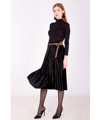 7501f6fc826a Rouzit Polodlhá čierna plisovaná sukňa s imitáciou opasku