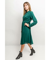Rouzit Elegantné polodlhé zelené šaty s dlhým rukávom a0c008e942e