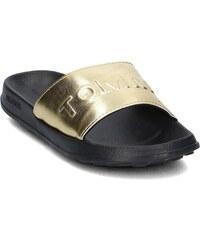 Tommy Hilfiger dámské kožené pantofle ve zlaté barvě 40 - Glami.cz fcb792f7598