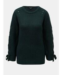 45100a7f91a Dorothy Perkins tmavě zelený svetr se šněrováním na rukávech Tie 48