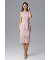 82fa2c259ac0 FIGL Ružové čikokované púzdrové šaty bez rukávov M640