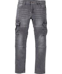 bonprix Strečové džíny v bikerském stylu Slim Fit Straight 7cd0bf8878