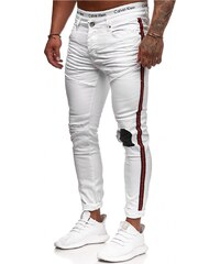 Koburas Pánské roztrhané džíny Stripe skinny fit RJ-5146 9e750d5635