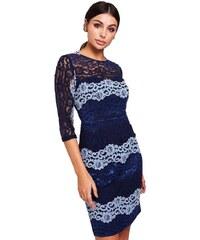LITTLE MISTRESS Midi šaty s kontrastní krajkou 749f0736457